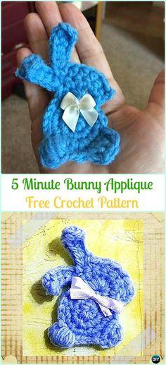 Crochet 5 Minute Bunny Applique Free Pattern-Crochet Bunny Applique Free Patterns