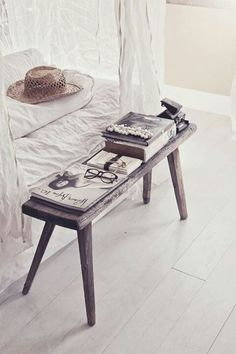 Domaine // Love the mood here - and the use of the old wood bench bedside. MIX has plenty of rustic benches and stools for you to bring this look home! blog.mixfurniture.com // mixfurniture.com