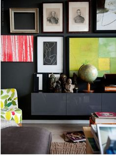 dark gray walls, picture frames on wall, iKea
