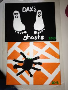 Painted canvas with foot print ghosts and handprint spider.
