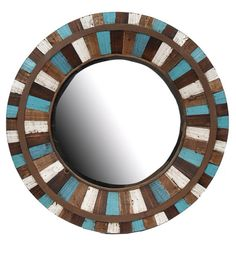 Reclaimed wood vintage turquoise accented mirror on Etsy, $220.00