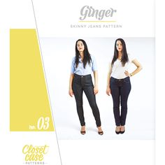 Closet Case Ginger Skinny Jeans Sewing Pattern - Classic 5-pocket jeans are given a fresh look with the Ginger Jeans sewing pattern. With a modern and flattering cut, this is the daily staple you'll reach for again and again. Engineered to be as flattering as possible, Ginger Jeans feature subtly shaped back pockets to highlight the curve of the bum, slimming side seams and a higher back rise to prevent peekabooty. With meticulously detailed and illustrated instructions, any level of sewist…