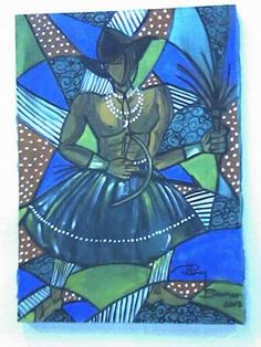 Oxossi acrílico s/tela pintado por Bianca Branco