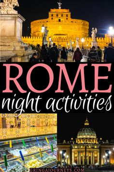 Between visiting the Colosseum or the Vatican, having a fancy dinner, or eating gelato, here are 14 fun options of things to do in Rome at night! Italy Travel Tips, Europe Travel Guide, Rome Travel, Travel Guides, Travel Advice, Rome At Night, Night Photography, Travel Photography, Italy Destinations