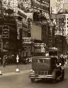 """Times Square 1937 New York City,Orpheum Dance Palace Theatre""""Myrna Loy in Missing Girls"""" Vintage Pictures, Old Pictures, Old Photos, Ville New York, A New York Minute, Voyage New York, Ansel Adams, Jolie Photo, Vintage Photographs"""