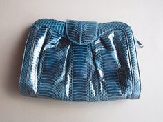 J. Renee snakeskin purse teal blue clutch evening bag hand bag convertible blue leather strap clasp purse night out purse gift for her