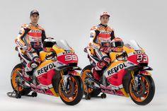 Marc Marquez and Jorge Lorenzo sit aboard the Honda machine in full 2019 livery for the first time. Having debuted the 2019 Repsol Honda Team Marc Marquez, Honda, Motocross, Ducati, Yamaha, Team Presentation, Motogp Teams, Bike Pic, Motosport