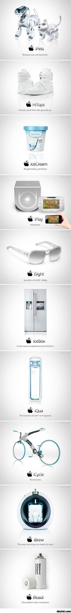 Possible future Apple products. Lol! I personally hate Apple products I have owned them, know the software and I would choose Android over Apple any day. But this is still funny and I could see this coming true in the future.