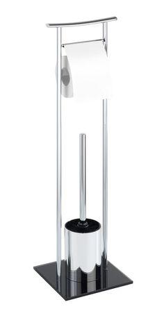 Die Bürstengarnitur Japan ist eine Kombination aus Toilettenpapier-Rollenhalter und offener WC-Garnitur. Das Gestell ist aus verchromten Stahl, die massive Bodenplatte ist aus schwarzen Sicherheitsglas und sorgt für einen sicheren Halt. Gesehen für € 49,99 bei kloundco.de.
