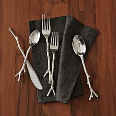 I have finally fallen in love with a flat ware set!!!! I want these for my future life!   Twig Flatware 5-pc. Set - Silver #WestElm