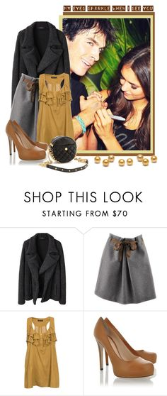 """Bite Me...!!!"" by peonyandpython ❤ liked on Polyvore featuring Limi Feu, Brunello Cucinelli, Modström, Dolce&Gabbana, Rebecca Minkoff and vampire diaries clutch pumps pearl chocolate grey brown love romantic ian somerhalder nina dobrev"