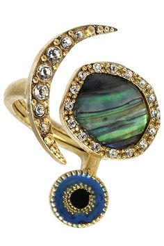 Abalone Evil Eye Ring