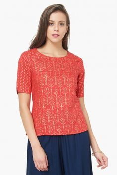 062503c2d9cec4 MAX Printed Short Sleeves Ethnic Top