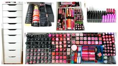 Beautiful makeup storage and organization - when I have a real room I might buy this desk or the drawer set from IKEA