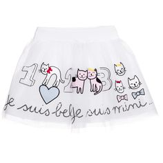 Girls, gorgeous white tulle skirt by Simonetta Mini. Made from rich layers of tulle, lined with a smooth cotton and gathered from a ribbed cotton, elasticated waistband. The top layer of the skirt is decorated with delicately embroidered, pastel coloured cats and numbers and the a positive phrase 'Je suis belle, je suis mini' in sequence across the hem. Worn with a black top and pumps, this lovely full skirt would be perfect for a fun party.