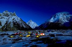 Night view of K2 base camp , concordia - - Pakistan