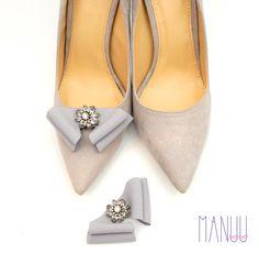 Gray shoe clips bow shoe clips Manuu elegant shoe by ManuuDesigns