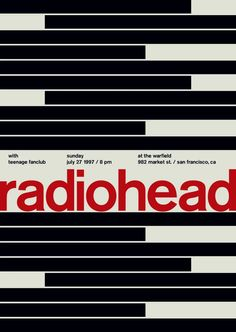 Hello, This is a brand new Radiohead concert poster. It measures x and is printed on nice poster paper. All orders will be shipped within 2 business days in a protective mailing tube. Tour Posters, Band Posters, All Poster, Poster Wall, Poster Prints, Retro Posters, Radiohead Poster, Teenage Fanclub, Mike Joyce