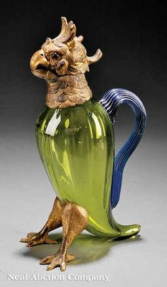 A Continental Gilt Bronze-Mounted Green Glass Figural Claret Jug, c. 1900