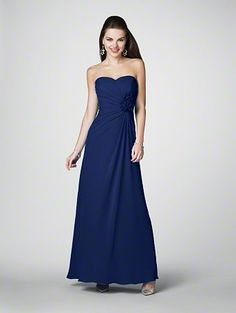 Bridesmaids dresses option number 4: A floor length A-line dress, sweetheart neckline with a side ruche and flower accent. Navy blue.