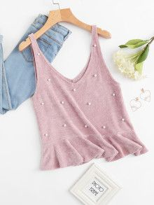 SheIn offers Pearl Beading Ruffle Hem Chenille Tank Top & more to fit your fashionable needs. Look Fashion, Girl Fashion, Fashion Outfits, Womens Fashion, Casual Outfits, Cute Outfits, Casual Dresses, Diy Clothes, Clothes For Women