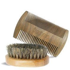 Beautyours Natural Green Sandalwood Beard Comb & Bristle Beard Brush Set Pocket Fine & Coarse Teeth Dual Brush for Mustache Anti-Static - Hipster Beard Products Beard Shapes, Best Barber, Hipster Beard, Beard Brush, Boar Bristle, Beard Grooming, Brush Kit, Beard No Mustache