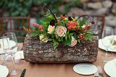 Sweet Peach - Home flowers on a log