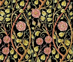 Briar Rose ~ Black  fabric by peacoquettedesigns on Spoonflower - custom fabric