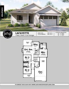 Bungalow House Plans, Small House Plans, House Floor Plans, Lafayette House, Sims, Open Space Living, Modern Farmhouse Style, Farmhouse Plans, Future House