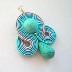 wisiorki turkus jedwab abstrakcyjny sutasz Błękitna Laguna - wisiorek sutasz