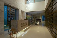 Architecture, Luxurious Day Spa Interior with Clean and Wood Accent: Reception With Waiting Room