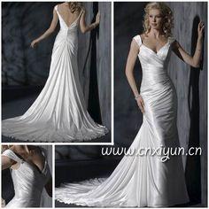 2011 Factory free shipping High quality V Neck Low Cut V Bare Back Ruffle Wedding Dress on AliExpress.com. $168.42
