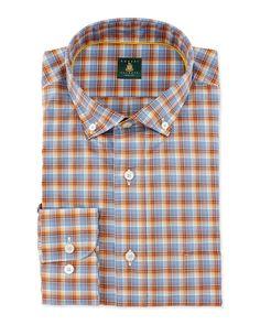 Mini-Plaid Woven Dress Shirt, Blue/Orange, Men's, Size: XX-LARGE, B.Orange - Robert Talbott