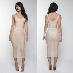 SEXY LADY STRING V NECK CUT SHOULDER STRAP SEE THROUGH WOMENS BANDAGE BODYCON STRETCH CLUBWEAR DRESS