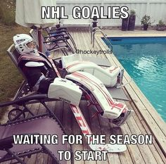 """NHL Goalies… waiting for the season to start."" – Kim DeLongchamp White ""NHL Goalies… waiting for the season to start."" ""NHL Goalies… waiting for the season to start. Blackhawks Hockey, Hockey Goalie, Hockey Mom, Hockey Teams, Chicago Blackhawks, Hockey Players, Hockey Stuff, Hockey Girls, Kings Hockey"