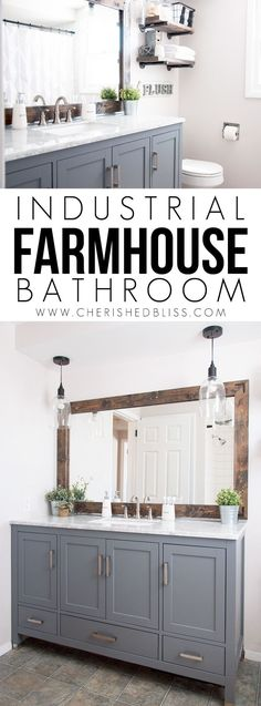 Farmhouse Bathroom Reveal - Cherished Bliss This Industrial Farmhouse Bathroom is the perfect blend of styles and creates such a cozy atmosphere!This Industrial Farmhouse Bathroom is the perfect blend of styles and creates such a cozy atmosphere! Upstairs Bathrooms, Basement Bathroom, Bathroom Shelves, Kids Basement, Master Bathrooms, Bathroom Storage, Apartment Decoration, Gray Vanity, Wood Vanity