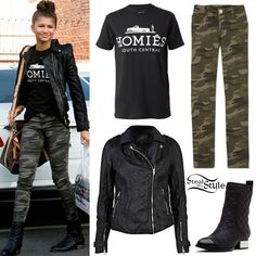 black/white homies tee with front tucked - camo skinny jeans - black leather boots - black leather jacket - gold (or silver)/white/black arm party - gold (or silver) hoop earrings