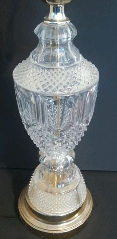 Vintage Crystal Cut Glass Brass Table Lamp Light Pineapple Cut