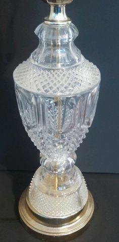 Vintage Crystal Cut Glass Brass Table Lamp Light Pineapple Cut