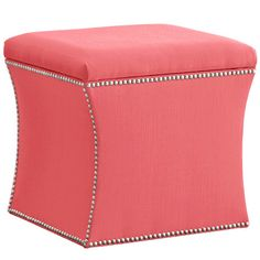 "Nailhead-trimmed storage ottoman with pine wood frame. Handmade in the USA.Product: Storage ottomanConstruction Material: Solid pine, polyurethane and polyester fill foamColor: CoralFeatures:  Curvaceous silhouette is finished with an elegant nail button trimVersatile function for storage, footrest, or tabletop Handmade in the USA Dimensions: 17"" H x 19"" W x 19"" D"