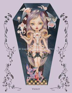 À tirage limitée violet signé numéroté Simona Candini lowbrow pop surréaliste gros yeux art cercueil fille gothique