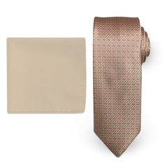 Steve Harvey Natte Woven Tie & Solid Pocket Square, Men's, Natural