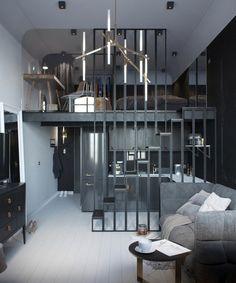 Voici le projet présenté par Tatiana Shishkina et mis en scène par Max Lykasov sur Behance, d'un mini loft de 24m² au sol, situé dans un grande maison divisée en petites appartements en Russie. Grâce