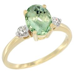 10K Yellow Gold Natural Green Amethyst Ring Oval 9x7 mm Diamond Accent, size 6.5, Women's