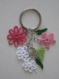 I love those awesome key fobs they have at Coach .. so I thought it would be fun to make a crochet version.  I made this using size 10 thread, fabric stiffener, and some jewelry findings....  (Original Patterns)