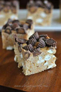 recipe: fluffernutter rice krispie treats (Reese's)