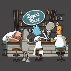 """Roger's Place"" by Theduc Peter Griffin, Bender, Rick Sanchez, and Homer Simpson at Roger's Place Peter Griffin, Homer Simpson, Futurama, Rick And Morty Crossover, Ricky Y Morty, Rick Und Morty, Rick And Morty Poster, Cartoon Crossovers, Nerd"