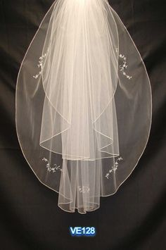 Two tiers waist length long with beading bridal veil - Click image to find more Weddings Pinterest pins