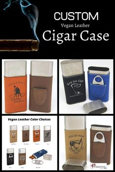 Personalized Vegan leather cigar case with cutter is laser engraved; not a sticker. Choose one of our designs or send us your own graphic for that unique one-of-a-kind gift. 7 great colors! Ships in 1-3 business days. #cigarholder #groomsmengift #weddingfavor #veganleather #cigarcaseholder #laserengraved #personalizedgifts #weddingfavors #weddingtournament #custom #travelcigarcase #carryingcase #forgolftournament #holderforcigars #giftforhim #dadgift #FathersDayGift #forgolfing