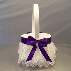Regal Purple on Ivory or White Wedding Bridal by evertonbridal